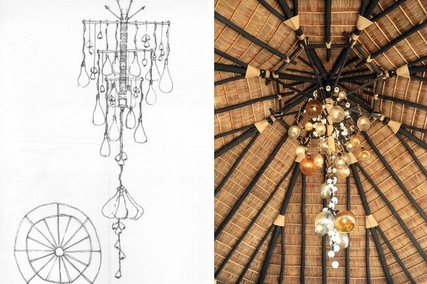 An initial sketch by designer Mary Alice Palmer, and (at right) the finished product.