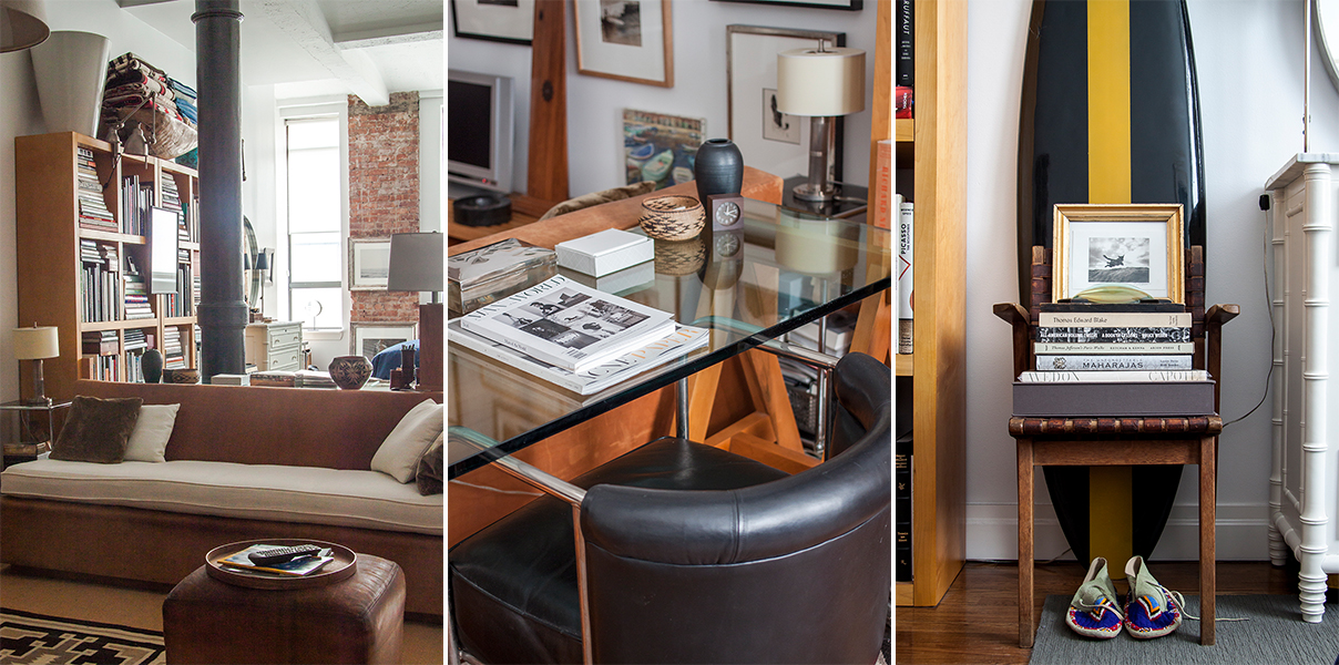 Neutral furnishings and an eclectic collection of objects in John Devitt's Manhattan studio apartment.