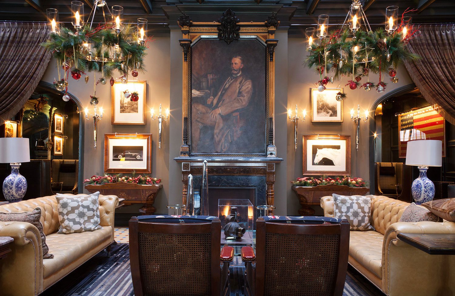 A portrait of Jerome B. Wheeler has pride of place among the leather chesterfields in the lobby of Aspen's Hotel Jerome.
