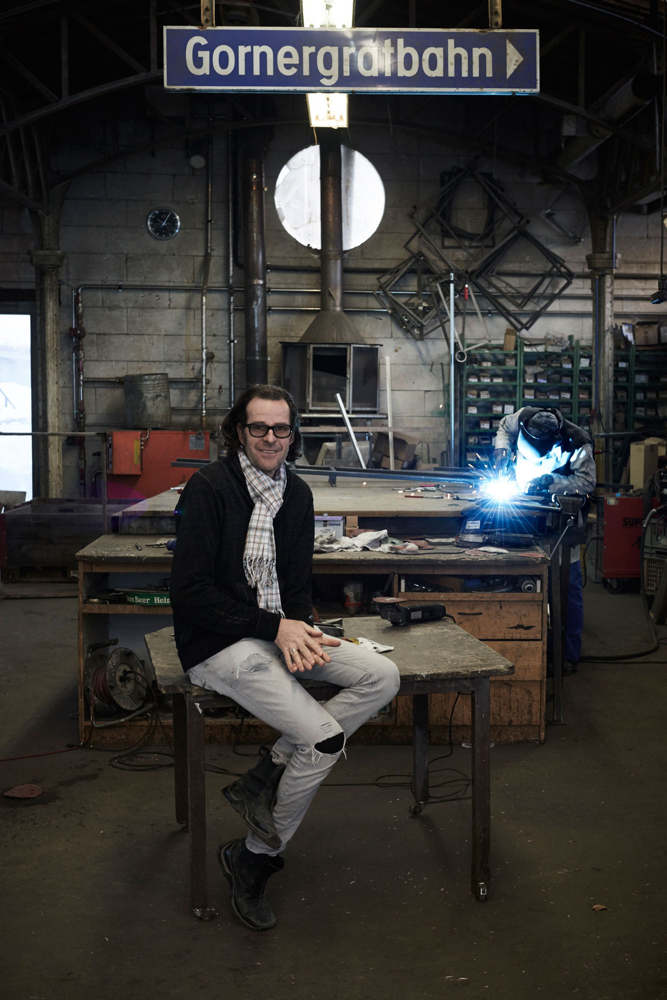 Julen in his Zermatt atelier, where building elements and furniture are produced.