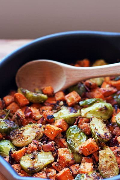Brussel Spout Sweet Potato Hash