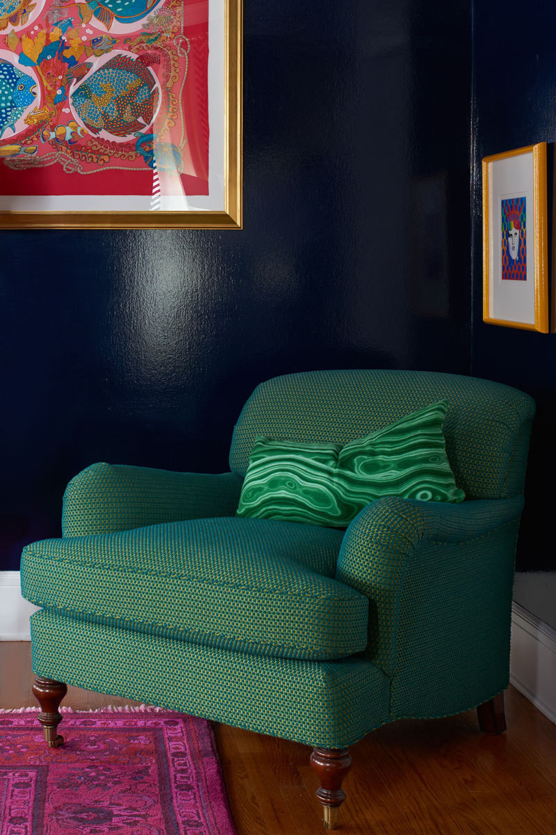 A rolled-arm lounge chair gets an audacious upgrade with kelly-green upholstery.