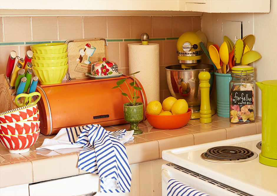 """""""The biggest challenge with living in a building that is almost 90-years-old is the up-keep,"""" the stylist admits. Vintage Bread Bin."""