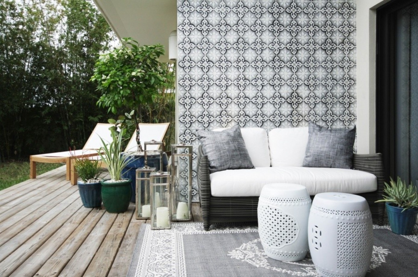 Get the Look: A Stylish Indoor/Outdoor Patio - Decorating ... on Backyard Garden Decor id=25397