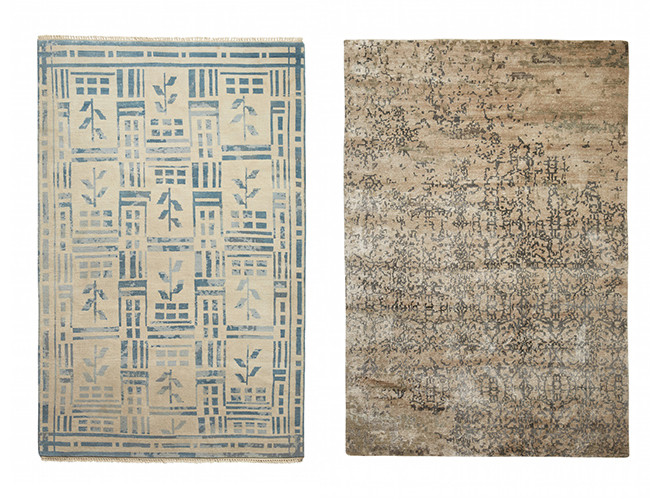 FROM LEFT Luke Irwin Norrland Rug, from $1,998. Luke Irwin Abstracted Rug, from $2,498.