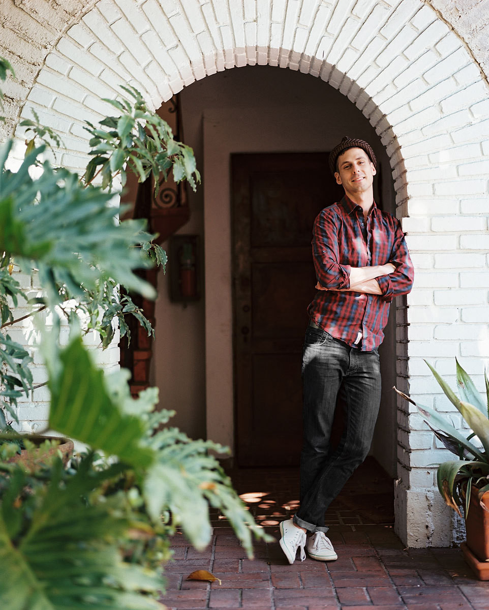 Designer Adam Straus outside his apartment building in the Hollywood Hills.