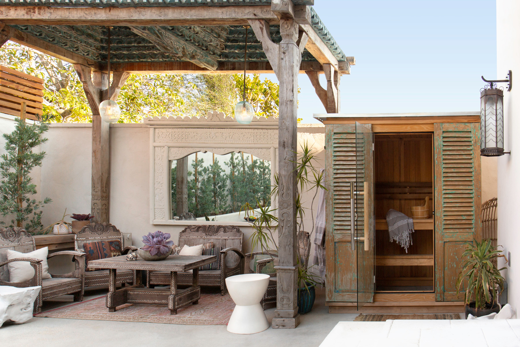 The family's backyard offers the perfect mix of indoor-outdoor living. Custom Patio Furniture | Custom Joglo |Almost Heaven Suana.