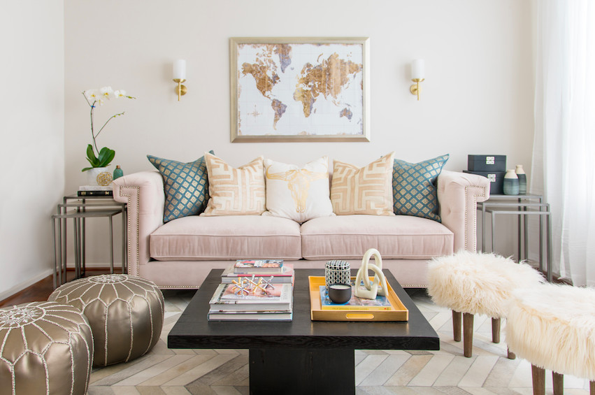 Youtube star desi perkinss living room makeover photography courtesy of laurel wolf