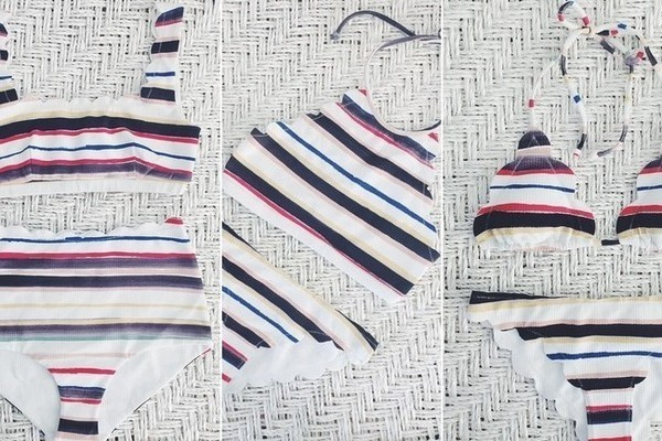 Marysia Swim bikinis in the 'Sally Stripe' via @marysiaswim.
