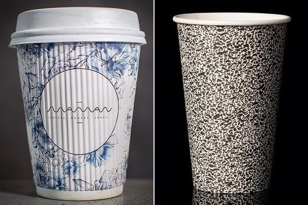 At left, the blue-and-white coffee cup from Mamanin NYC. At right, the black-and-white modified animal print from Happy Cups in Berlin.