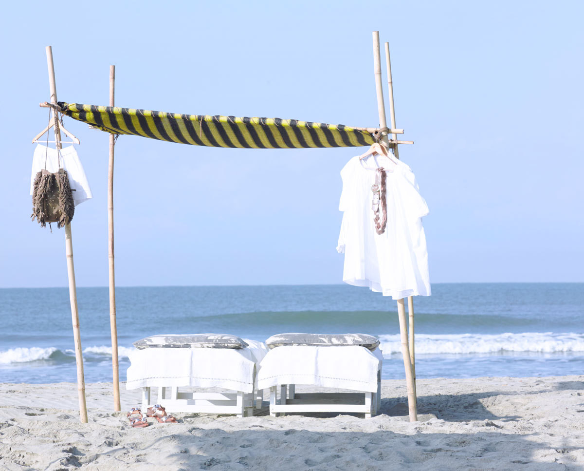 """This is what you find on the beach in Goa—all the shops provide a little shaded area,"" says Doligé of her boutique&squot;s shaded retreat."