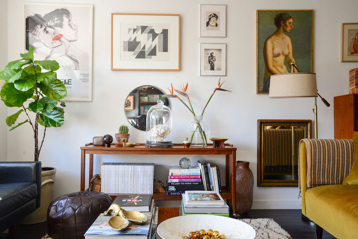 Strong foundation pieces, eye-catching art, and objects collected over time fill Dan Wakeford's New York City residence.