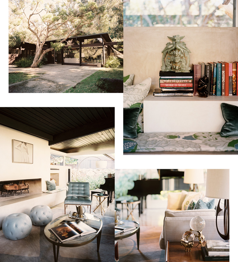 Top left: The exterior of the mid-century home in Rustic Canyon. Top right: With a subtle blend of patterns and textures, the living room takes on a multilayered dimensinoality. Bottom left: By creating a series of conversational nooks, the designer created an inteiror that's ideal for entertaining.