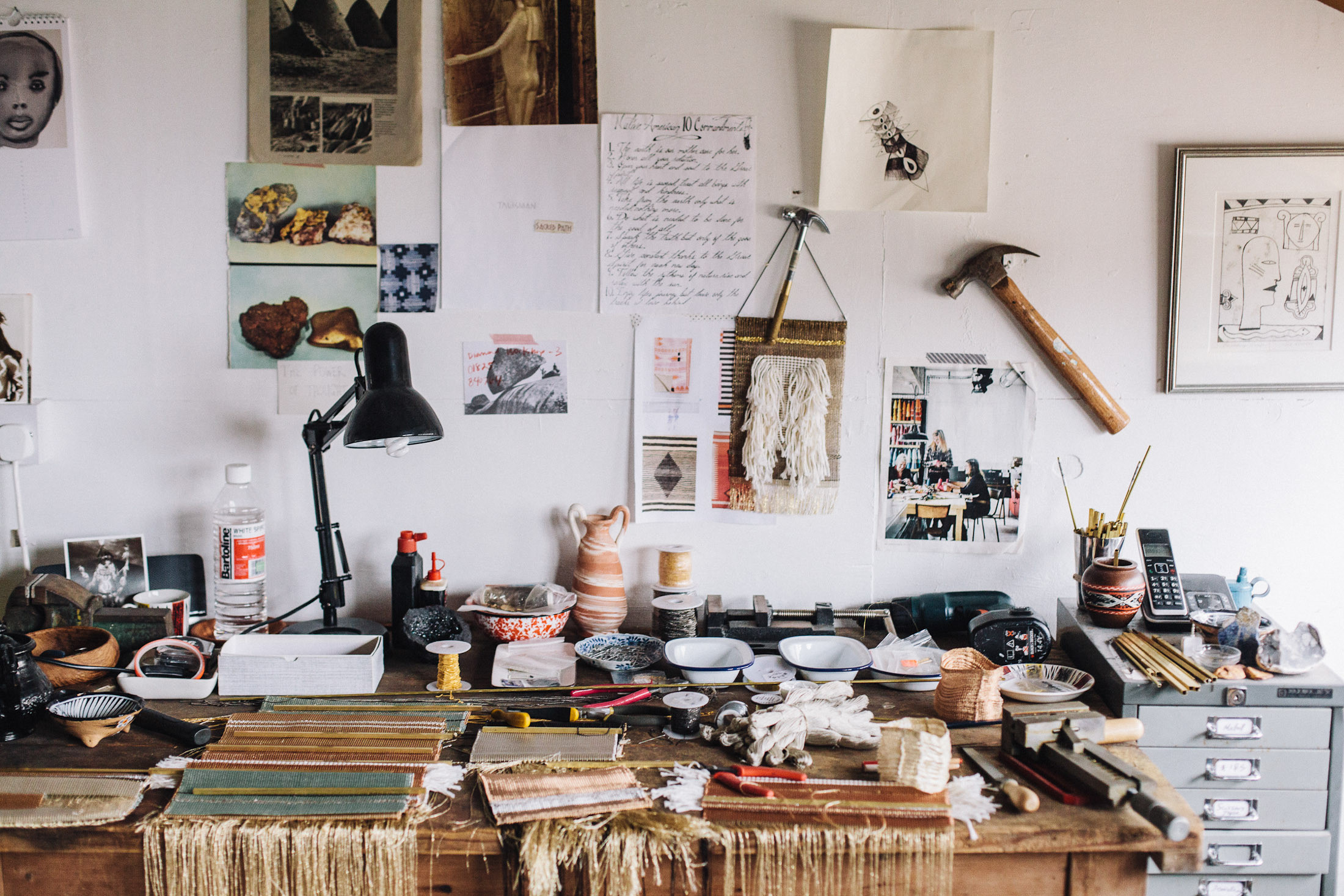 A Beautiful Mess: A work space in Ashbee's sun-filled, vaulted studio is overflowing with tools of the trade. Photographs courtesy of Native Line.