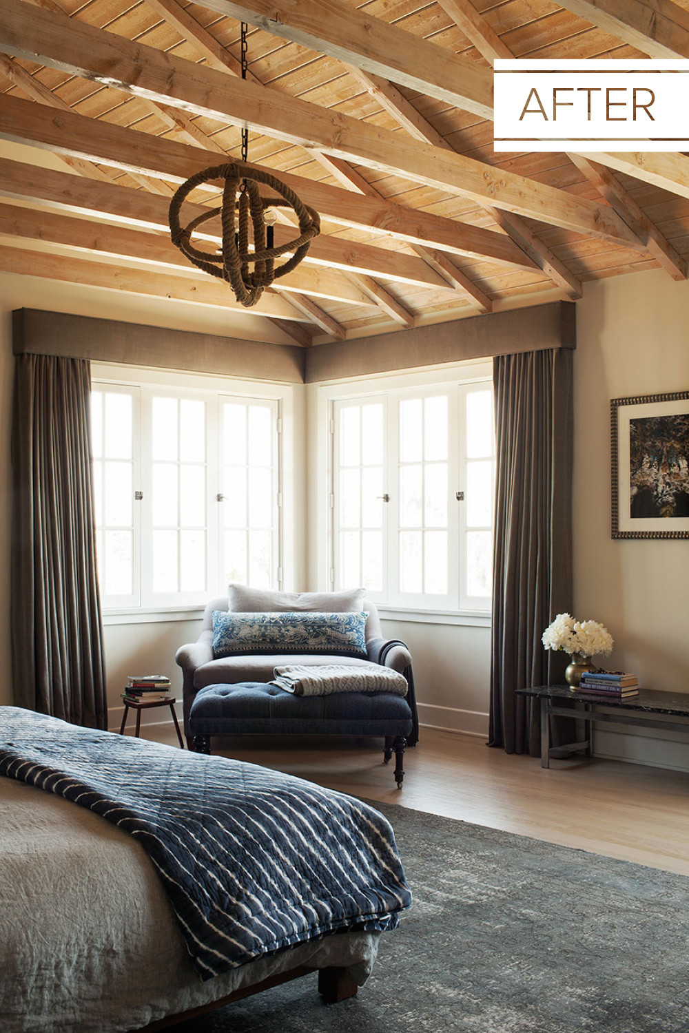 Post-renovation, the expanded master bedroom has a rustic-luxe sensibility.