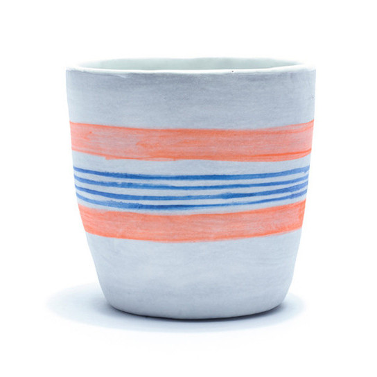 Thick Striped Cup by Carnevale Clay: $40; Lizzie Fortunato.
