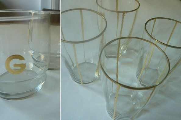 DIY Gold-Leaf Monogrammed Glasses