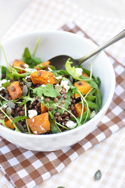 Lentil Pumpkin Salad With Arugula And Feta