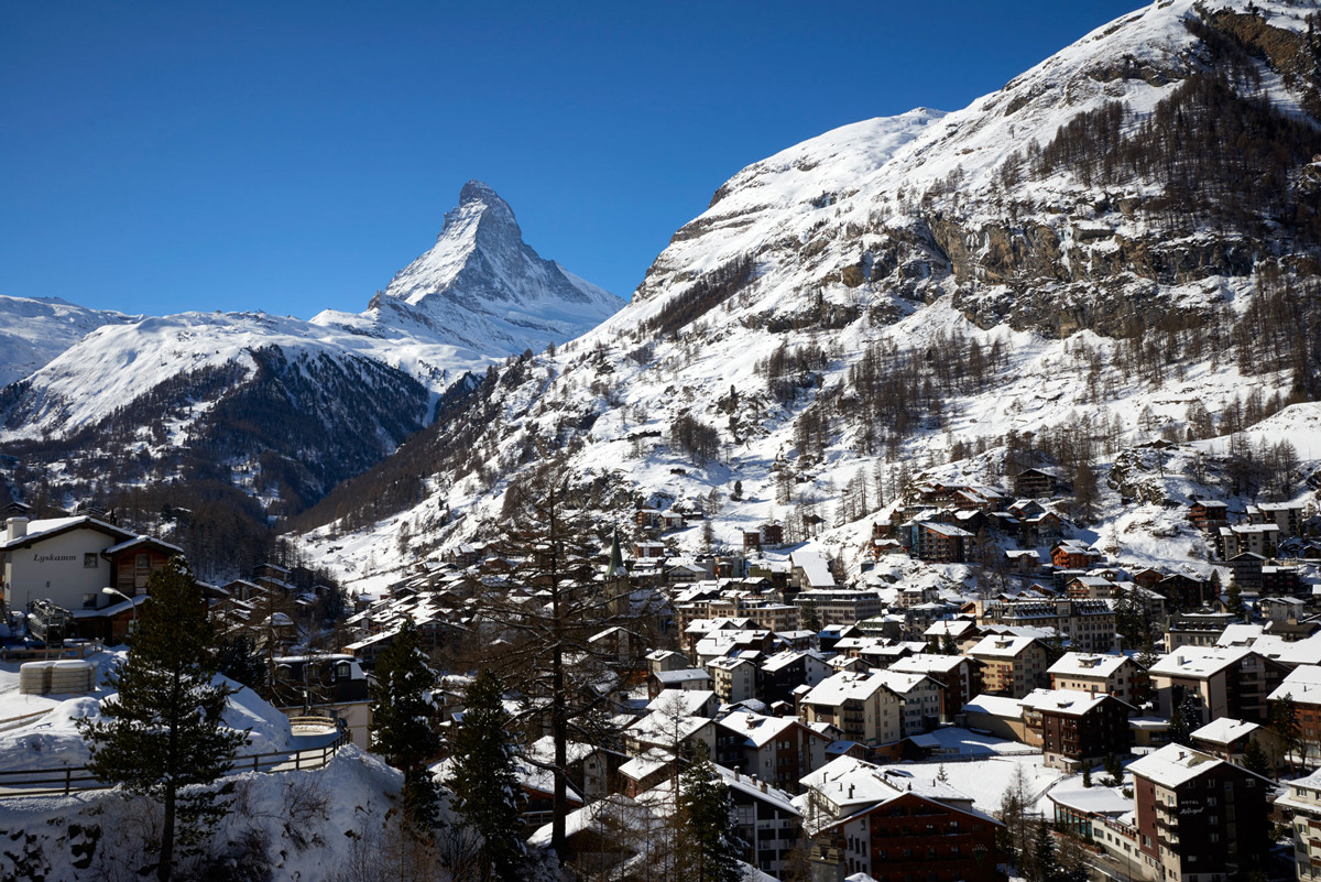 Zermatt in the snow. This July marks the 150th anniversary of the first ascent of the Matterhorn by Edward Whymper, which put the Alpine village on the map.