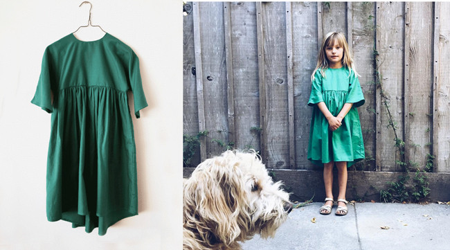 Wolf & Rita Silviadress ($102) in green, from Portugal, and as worn by Milla (at right).
