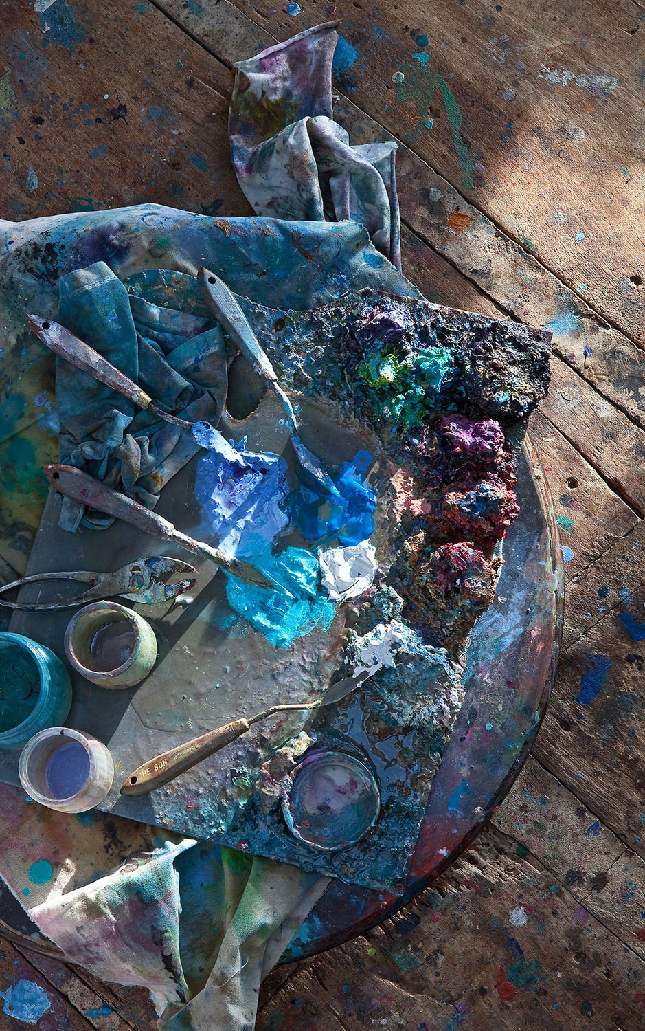 A paint-covered palette is where Poch's color trends first see the light of day.