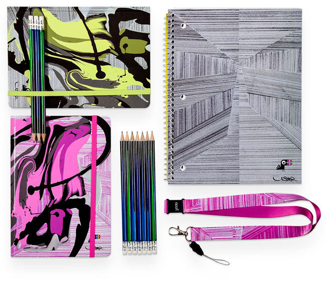 FROM TOP LEFT Yoobi x Usher Green Splatter Journal, $6.99. 1 Subject Spiral Notebook, $2.29. Pink Lines Lanyard, $2.99. No. 2 Pencils (pack of 24), $2.99. Pink Splatter Journal, $6.99.