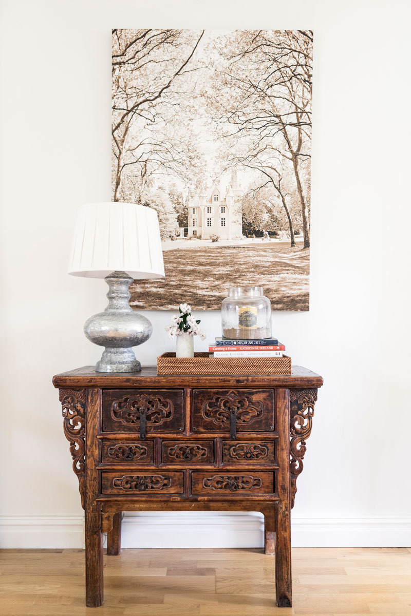 Cherished antiques fill the home with texture and ornamentation.