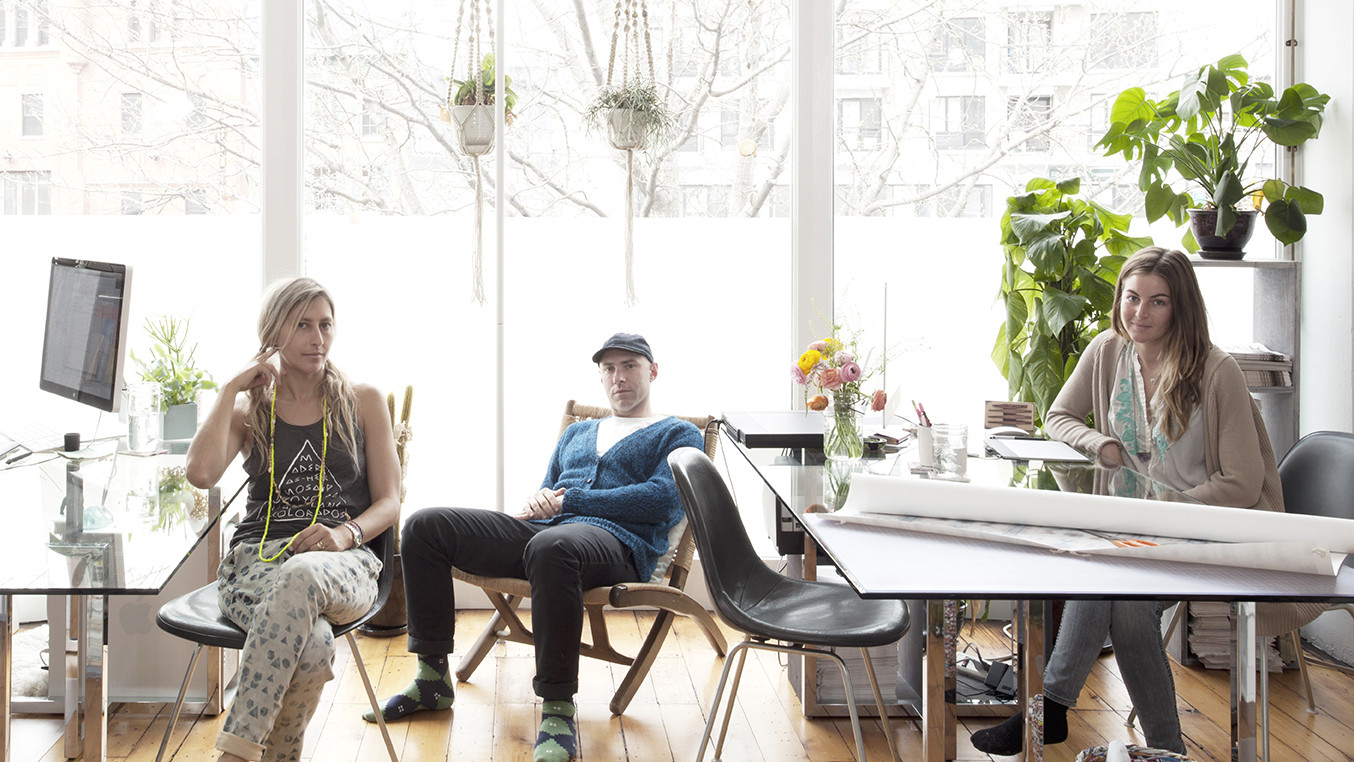 The husband-and-wife team behind Eskayel in their Williamsburg, Brooklyn, home office. From left: Shanan Campanaro, Nick Chacona, and Briana White, the couple's assistant.