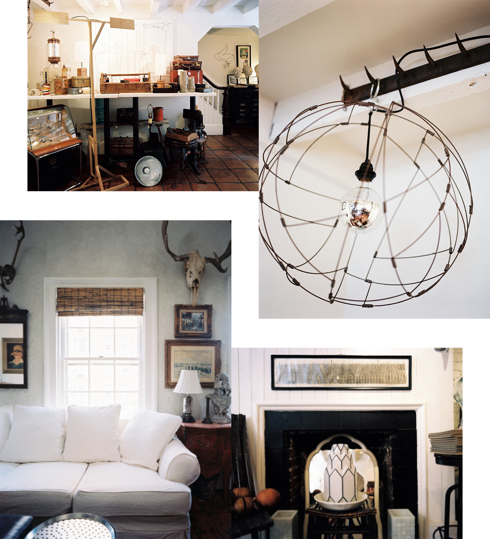 Clockwise from top right: a corner of his home furnishings shop, Abingdon 12; a circular wire light fixture; a collection of contemporary and vintage furnishings for sale; a neutral-colored sofa allows and Italian side table that once belonged to Caddell's grandmother to serve as the focal point in the upstairs den.