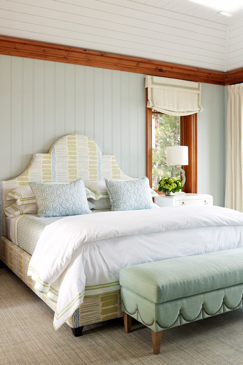 Hepfer designed the upholstered bed and bench in this bedroom.