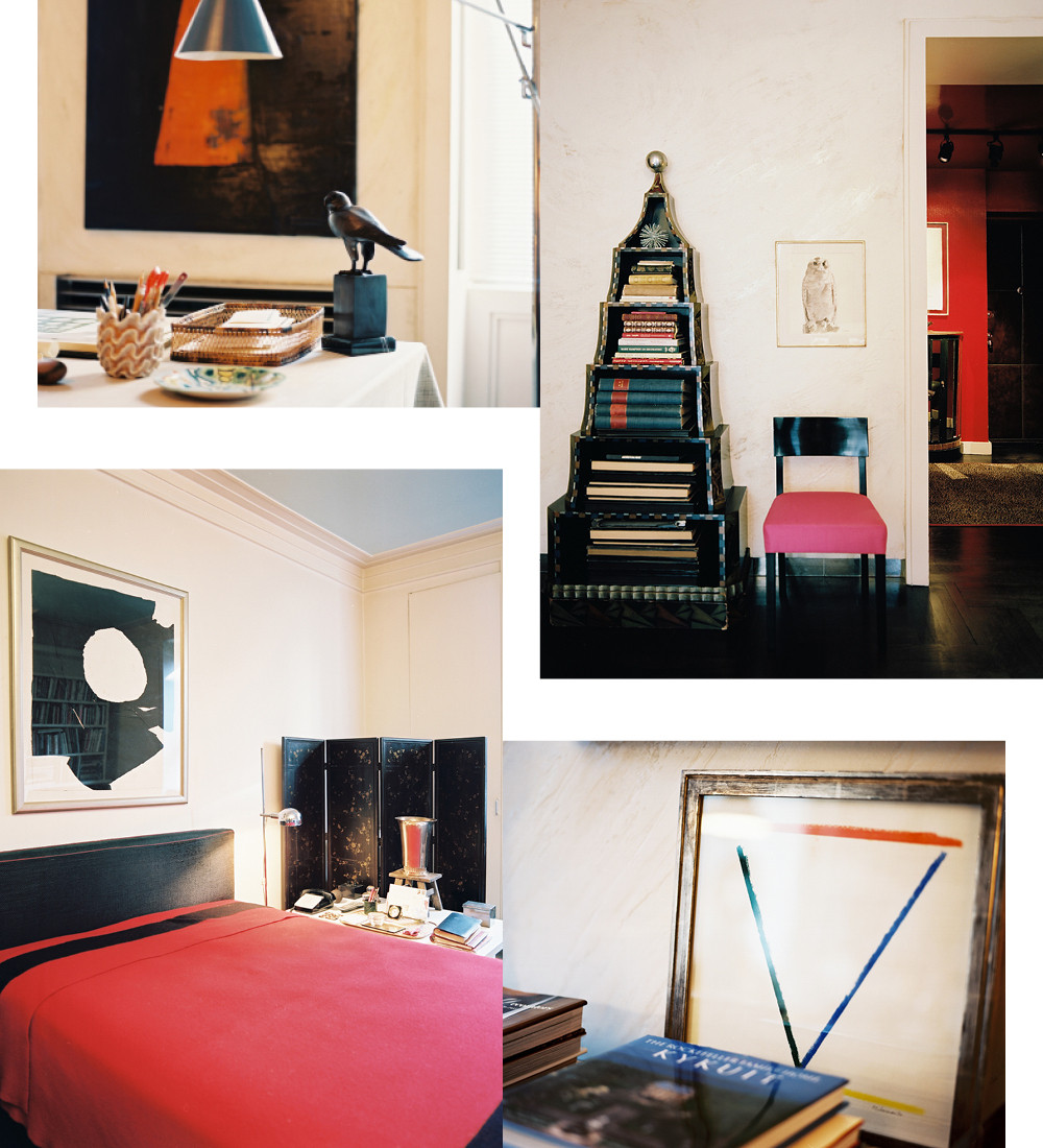 Clockwise from top left: A contemporary light fixture hangs nearby Hadley's personal desk; The German pyramical bookshelf, which Hadley purchased more than 40 years ago in a Third Avenue antique shop, commemorates the 1936 Berlin Olympics. Hadley upholstered the occasional chair in Schiaparelli shocking pink, one of his favorite colors; The staff of Parish-Hadley bough the Alexander Liberman painting, which orginially belonged to Vreeland, as a gift for Hadley from the 1990 Sotheby's auction of her estate; Hadley's bedroom is a testimony to his classic sensibility and editorial restraint.