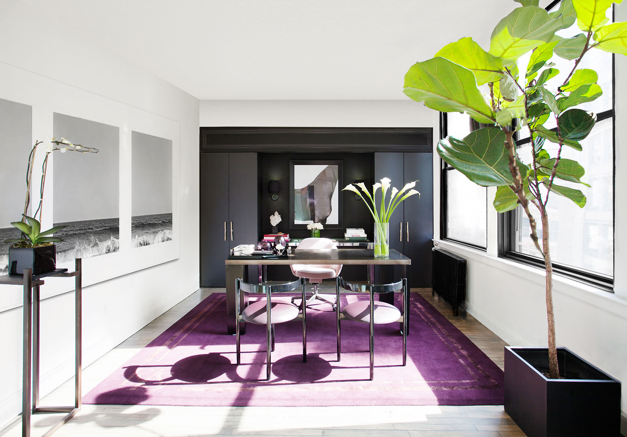 A rich purple rug covers the floor of an executive office in fashion designer Kimora Lee Simmons's New York City headquarters.