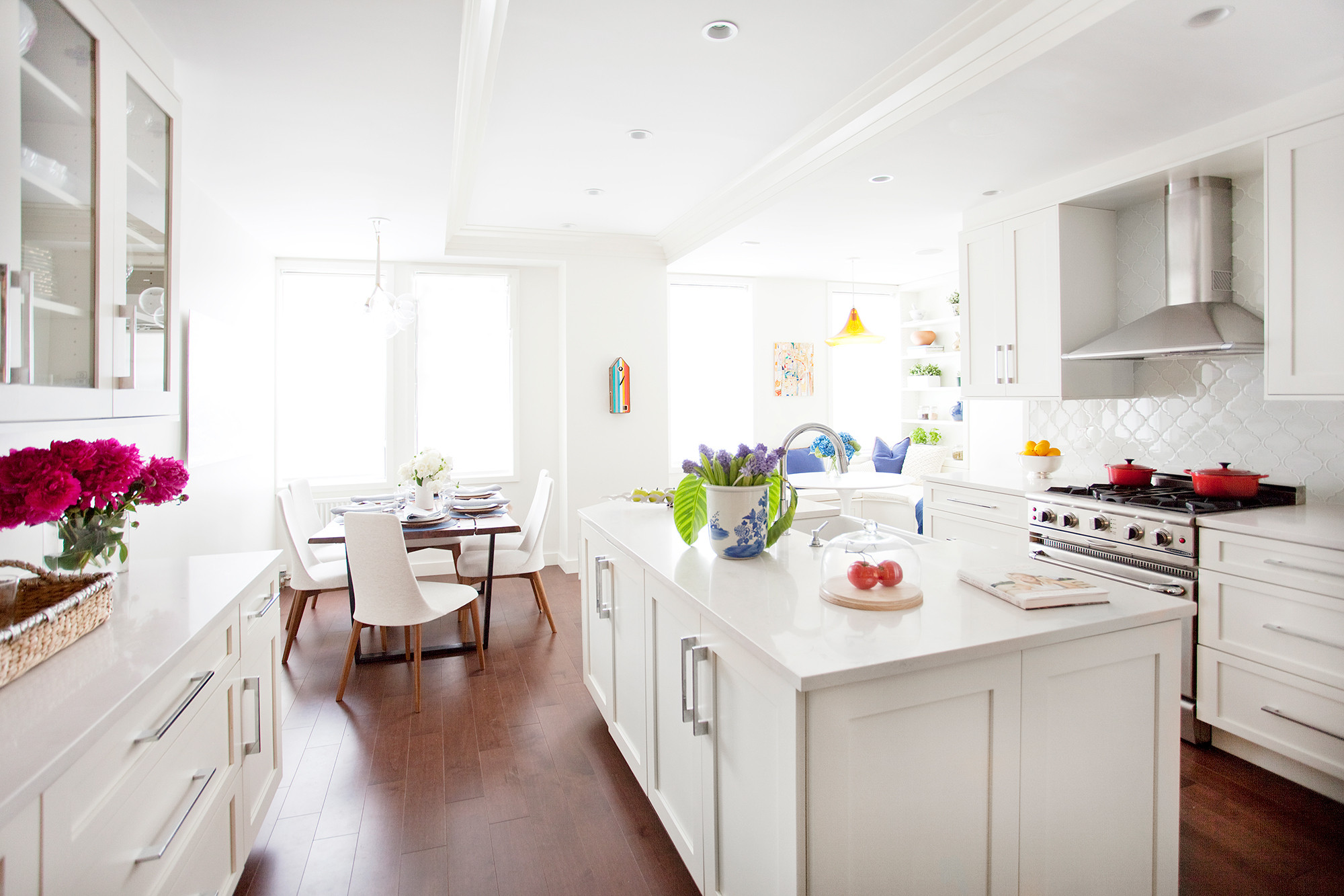 The newly revamped kitchen in a New York City apartment designed by Natalie Kraiem.
