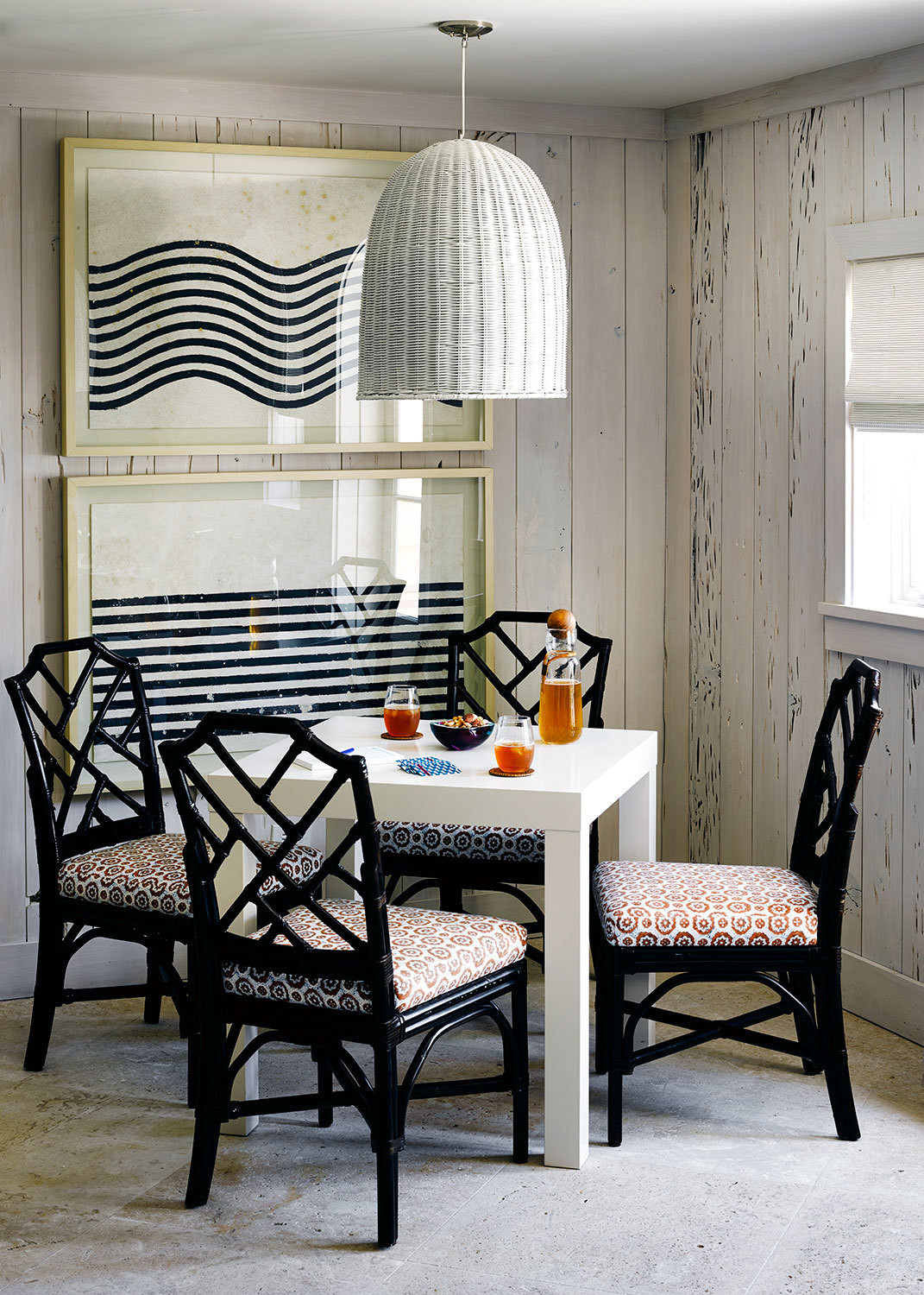 A casual table for four with a nautical air.