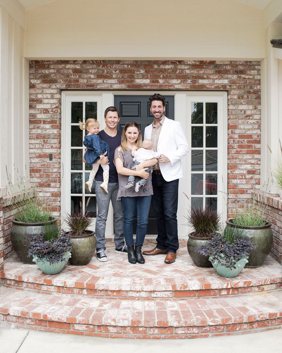 Beverley Mitchell with (from far left) daughter Kenzie, husband Michael Cameron, son Hutton, and Arhaus's Dominic Milanese.