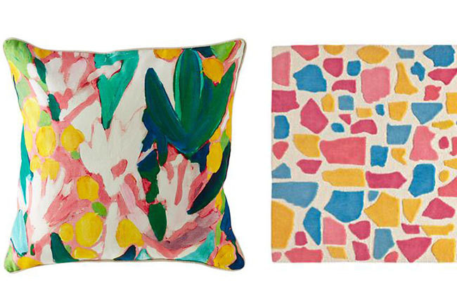 FROM LEFT The Floral Pattern Throw PIllow, from $25. A corner of the Paper Mache Rug, from $299.