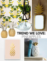 Clockwise from top left: Pineapple wallpaper in Sorbet by Rifle Paper Co.: $175 per roll, Hygge & West; brass pineapple mirror: $99, Plumo; pineapple-scented candle: $29, West Elm; The Blushing Pineapple print by Field Trip: $25, Great.ly; pineapple candlesticks: $275, Oscar de la Renta; pineapple juicer by Lilly Pulitzer for Target: $15,Target