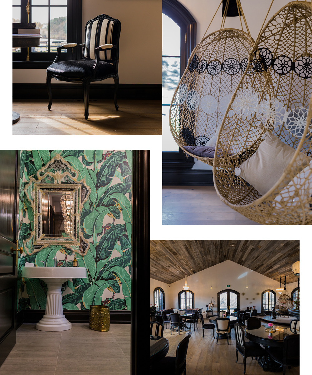 Hanging natural-fiber seats from Anthropologie and striped arm chairs ornament the pavilion, while Martinique wallpaper, made famous by the Beverly Hills Hotel, lines a powder room.