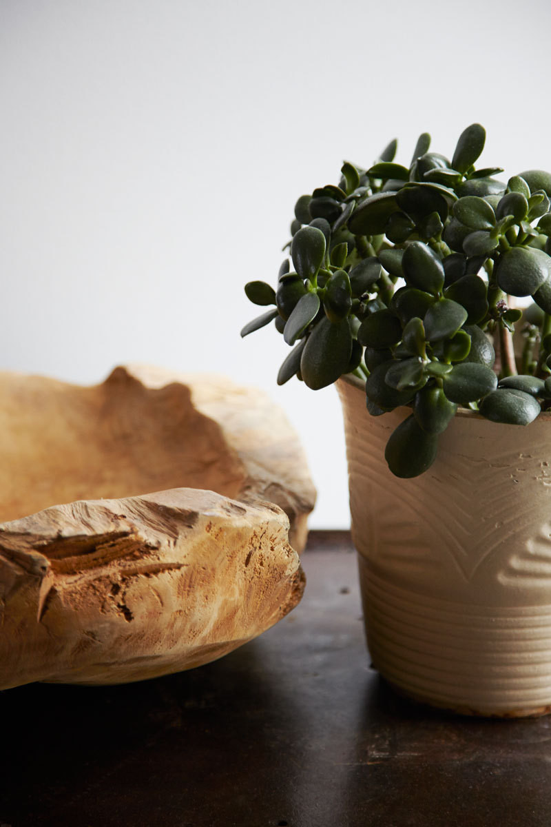 A wooden bowl and terra-cotta planter bring warmth to a side table in the living room.