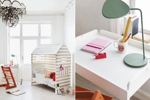 FROM LEFT The Changer and Cradle in play-table mode, along with the Bed as playhouse; up close with the play table. Chair, Stokke Tripp Trapp.
