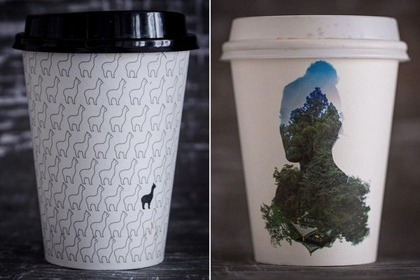 At left, a llama-patterned cup from NYC's Bibble & Sip. At right, a woodsy silhouette from Biopak in Australia.