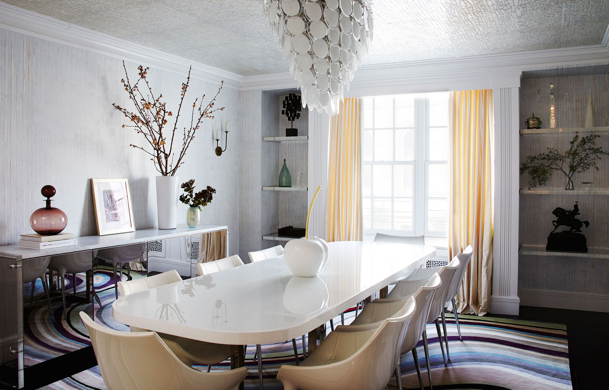 The formal dining room in a New York City apartment designed by Daun Curry.