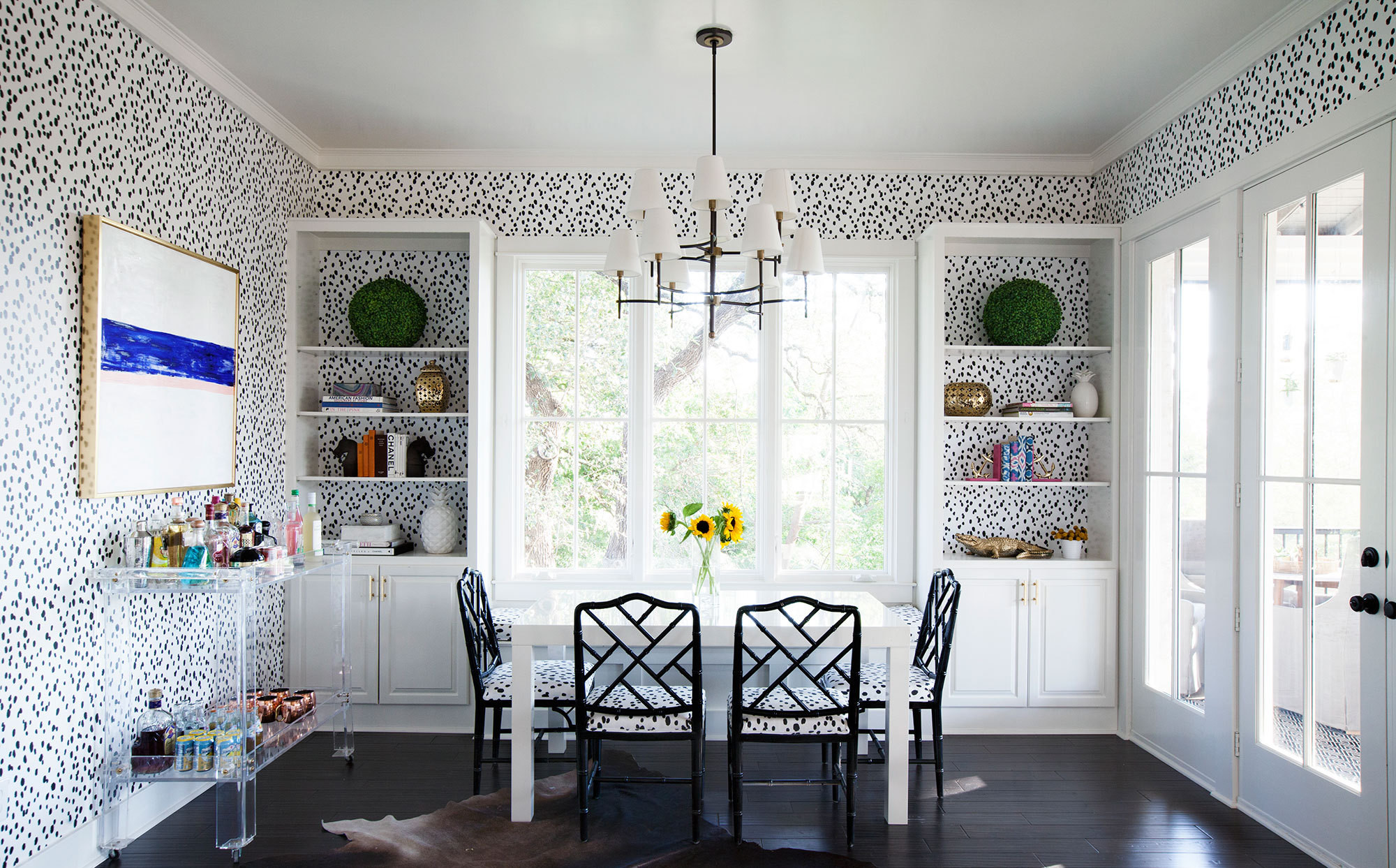The pattern-clad breakfast nook in the kitchen of designer Katie Kime's Austin home.