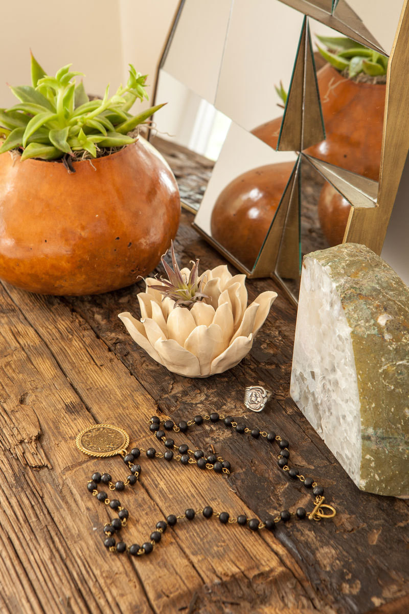 Earthy textures predominate in the home.