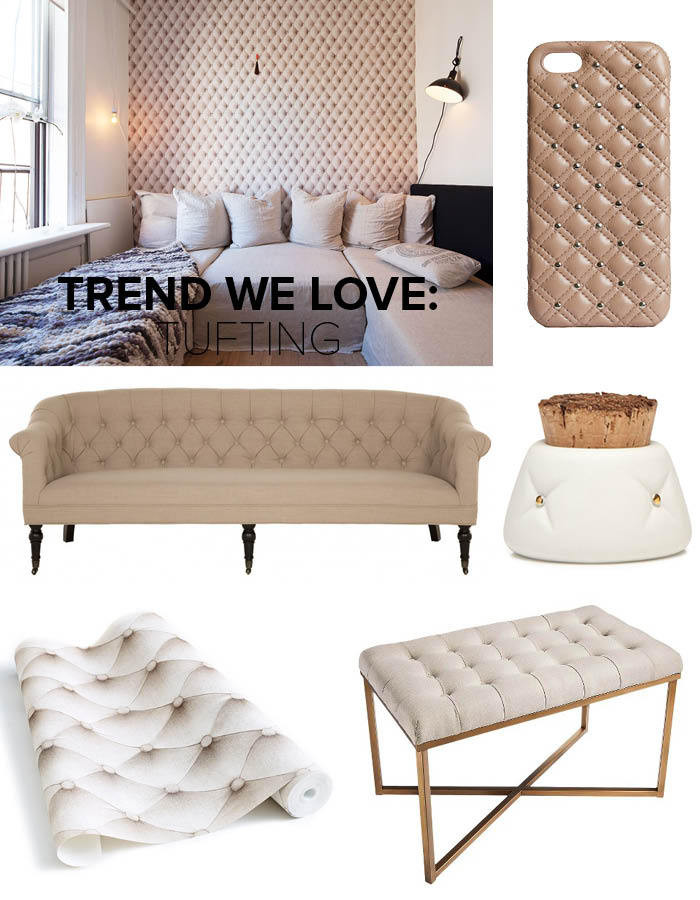 Clockwise from top left: Mischa Lampert's Manhattan apartment (photographed by Genevieve Garruppo); Studs Leather Phone Case: $108; The Case Factory; Tufted Container by Michiko Shimada: $38, Michele Varian; Threshold Tufted Bench: $100, Target; Tufted Leather Wallpaper: $60 per roll, Koziel
