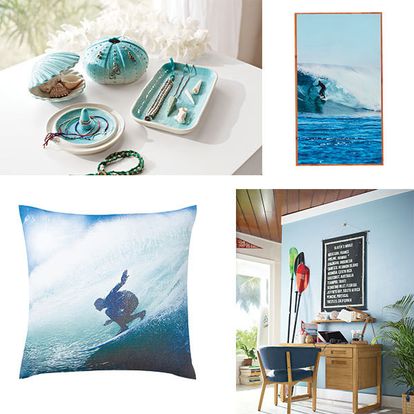CLOCKWISE FROM TOP LEFT Outer Reef Jewelry Holders; Pipeline Bamboo Lacquered Art; the Dover Desk and Latitude Desk Chair; Photoreal Pillow Cover.