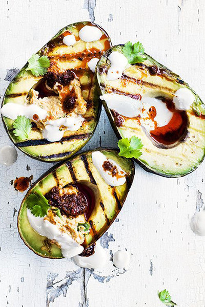 Grilled Avocado With Hummus And Tahini