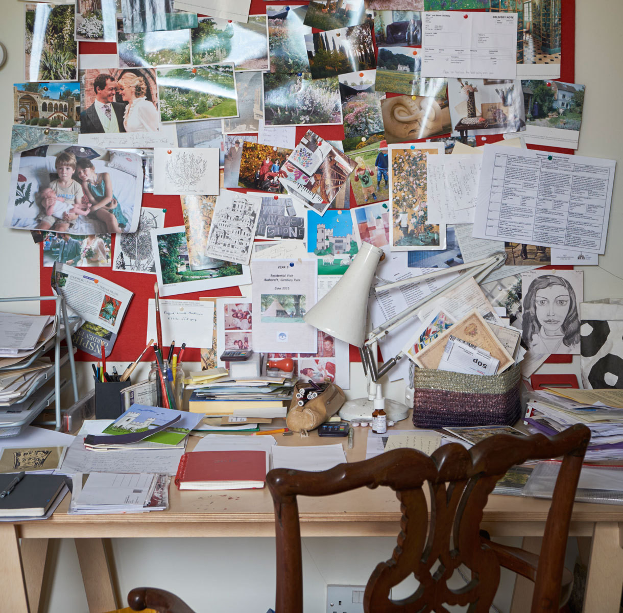The pin board above FitzGerald's desk displays a wealth of memorabilia.