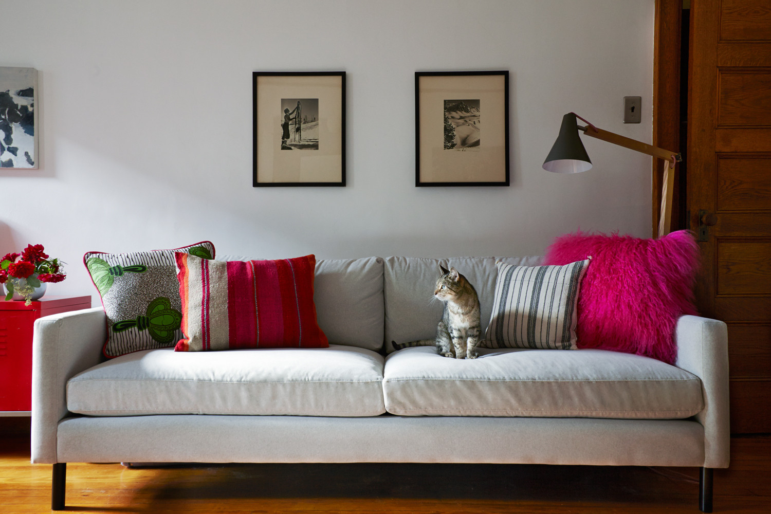 The family cat, Tigger, perches with pride on a new sofa from High Fashion Home. Pillows (from left) from All Things Taj, ABC Carpet & Home (2), and High Fashion Home. Rex Lamp from Crate and Barrel.
