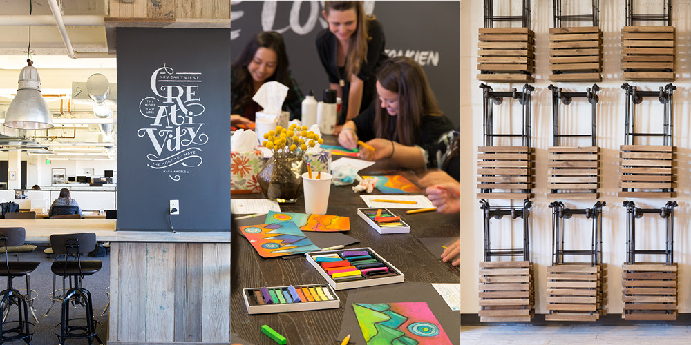Never too old for arts & crafts, Minted's team eagerly participates in company-wide creative classes.